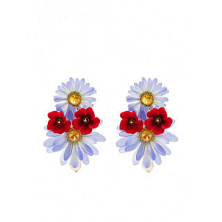 DOLCE & GABBANA DROP EARRINGS WITH FABRIC FLOWERS - INTTSB843073515