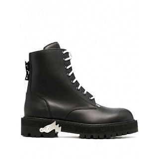 OFF-WHITE LEATHER LACE UP BOOTS