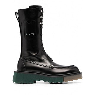 OFF-WHITE LEATHER COMBAT BOOTS