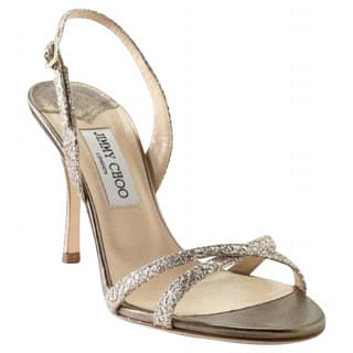 Jimmy Choo Silver Leather Slingback Strappy Sandals