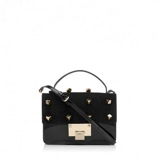 Jimmy Choo Rebel Black Suede And Patent Cross Body Bag With Cube Studs