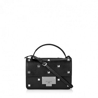 Jimmy Choo Rebel Black Smooth Leather With Square Studs Cross Body Bag