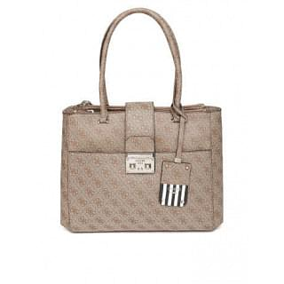 Guess Brown Printed Satchel Bag