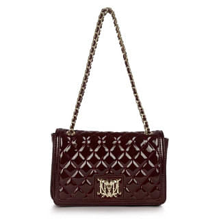 Love Moschino Quilted Leather Front Flap Shoulder Bag