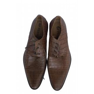 GF Ferre Croc Effect Brown Shoes