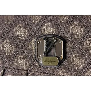 Guess Logo Monogram Taupe & Gold Clutch