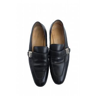 Hermes Black Shoes with Metal Buckle