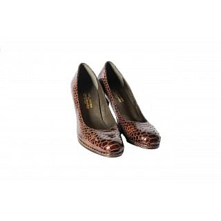 Russell & Bromley Brown Croc Effect Heels