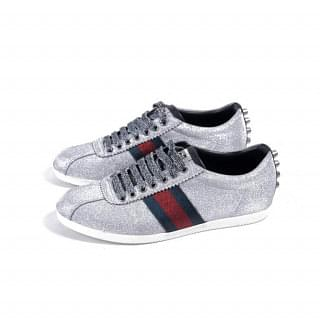 Gucci Silver Sparkle Studs Web Sneakers