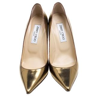 Jimmy Choo Metallic Gold Patent Leather Anouk Pumps