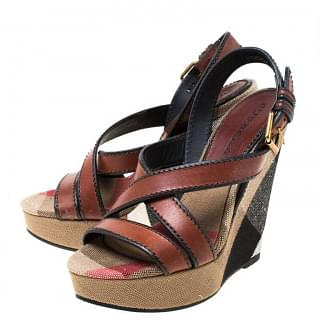 Burberry Novacheck Canvas and Leather Platform Wedge Sandals