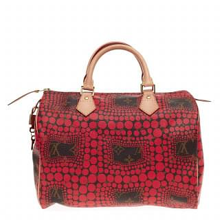 Limited Edition Yayoi Kusama Red Monogram Town Speedy Bag
