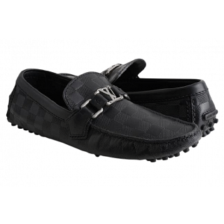 Louis Vuitton Damier Hockenheim Moccasin Leather Loafers