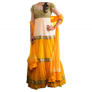 floor length anarkali with sequinned bodice and stone embroidery