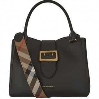 Burberry Medium Buckle Black Leather Tote