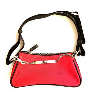 Dior Vintage Crystal Chains Red Canvas Shoulder Bag