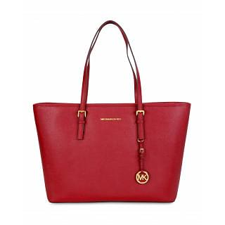 Michael Kors Jet Set Large Travel Medium Saffiano Leather Tote Red