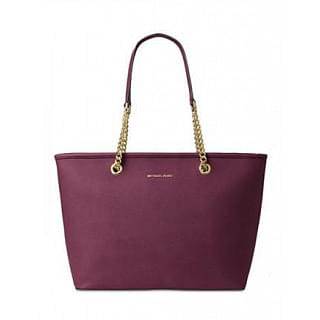 Michael Kors Jet Set Travel Chain Leather Large Top Zip Tote