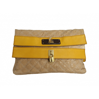 Marc Jacobs Flap Quilted Foldover Lock Leather Clutch