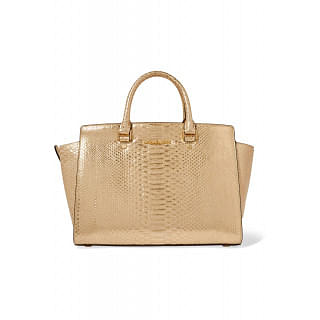 MICHAEL MICHAEL KORS Selma metallic snake-effect leather tote