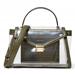Michael Kors Whitney Olive Large Clear and Leather Satchel