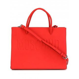 MOSCHINO Moschino Red Leather Logo Tote