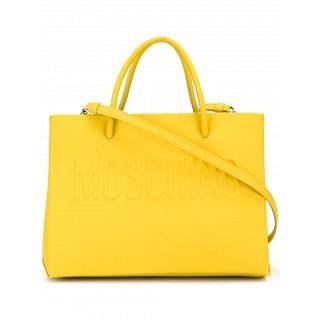 Moschino Yellow Leather Logo Tote