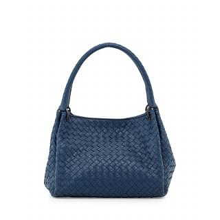 Bottega Veneta Cobalt Blue Parachute Small Intrecciato Tote Bag