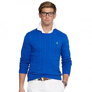 Polo Ralph Lauren Blue Long Sleeve Cable Knit Cashmere Sweater