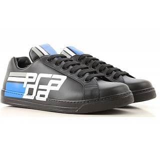 PRADA Mens Graphic Logo Leather Sneakers