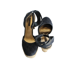 Louis Vuitton Black Monogram Broderie Anglaise 'Think of You' Espadrille Wedges