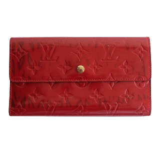 Louis Vuitton Monogram Vernis Sarah Wallet Red
