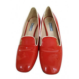 Prada Patent Red and White Shoes