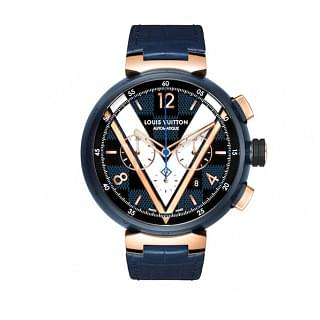 Louis Vuitton Tambour Damier Cobalt Blue & Gold Chronograph
