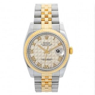 Rolex Datejust 36 Ivory Pyramid Dial Steel & Gold
