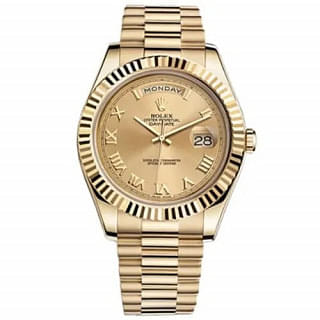 Rolex Day-Date II 41MM 18K Yellow Gold Fluted Champagne