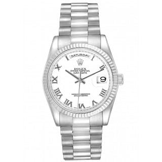 Rolex Day Date 36MM President White Gold White Dial