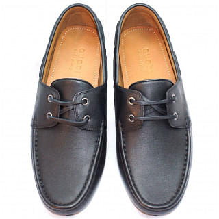 Gucci Black Mens Leather Lace-up Driver