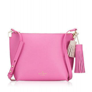 Kate Spade Pepper Foster Court Leather Tassel Pink Crossbody Bag
