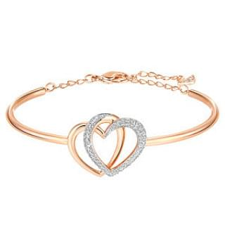 Swarovski Rose Gold-Tone Crystal Pave Interlocking Double Heart Bangle
