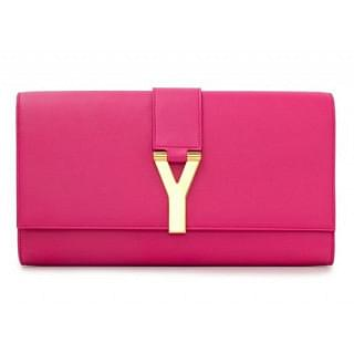 Yves Saint Laurent Pink Leather Ligne Y Clutch