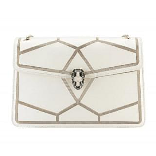 Bvlgari Serpenti Forever Graphic Chain White Shoulder Bag