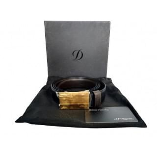 S T Dupont Leather Gold Plated Belt