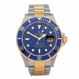 Rolex Submariner Date Steel 18K Gold Blue Mens Watch