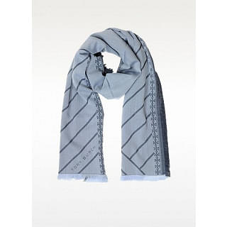 Tory Burch Grayish Blue Diagonal Stripes Double T Logo Fringed Scarf