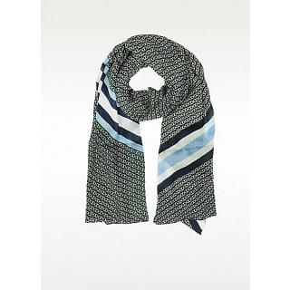 Tory Burch Norwood Gemini Link Striped Oblong Wool Scarf
