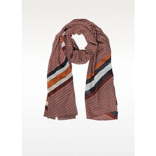 Tory Burch Red Gemini Link Striped Oblong Wool Scarf