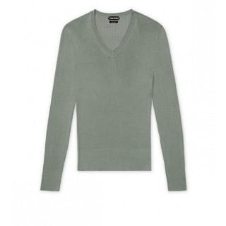 Tom Ford Grey Silk Ribbed V Neck Knit