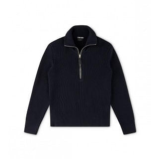 Tom Ford Fisherman Rib Half Zip Merino Wool