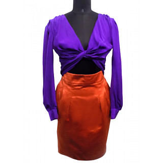 Gucci Purple And Orange Block Knotted Midriff Cutout Cocktail Dress